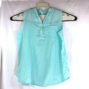 Unbranded Women Blue 4XL Semi Sheer Sleeveless Top